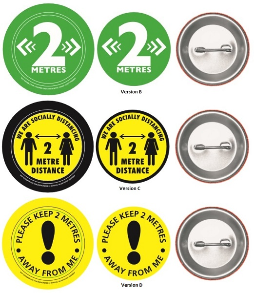 Button Badge to encourage social distancing